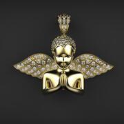 天使之翼钻石吊坠 3d model