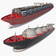 Lng 유조선 및 컨테이너 선박 3d model