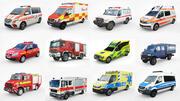 12 Low Poly European Emergency vol1 3d model