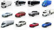 12台の低ポリ電気自動車 3d model