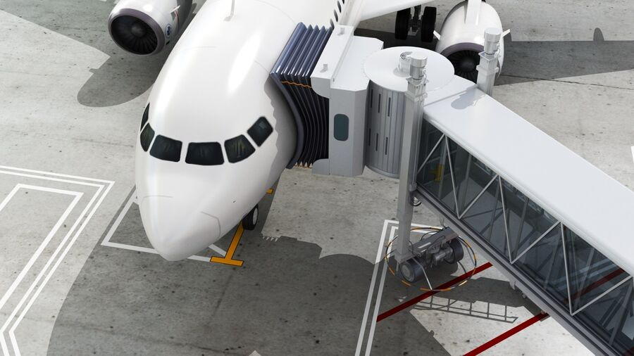 Avión y Jetway del aeropuerto royalty-free modelo 3d - Preview no. 6