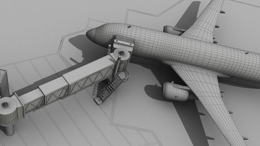 Avión y Jetway del aeropuerto royalty-free modelo 3d - Preview no. 21