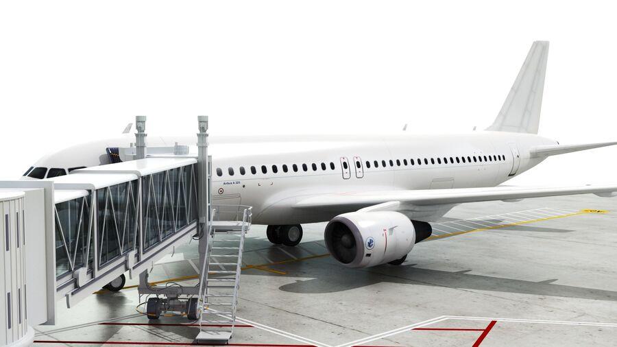 Avión y Jetway del aeropuerto royalty-free modelo 3d - Preview no. 16
