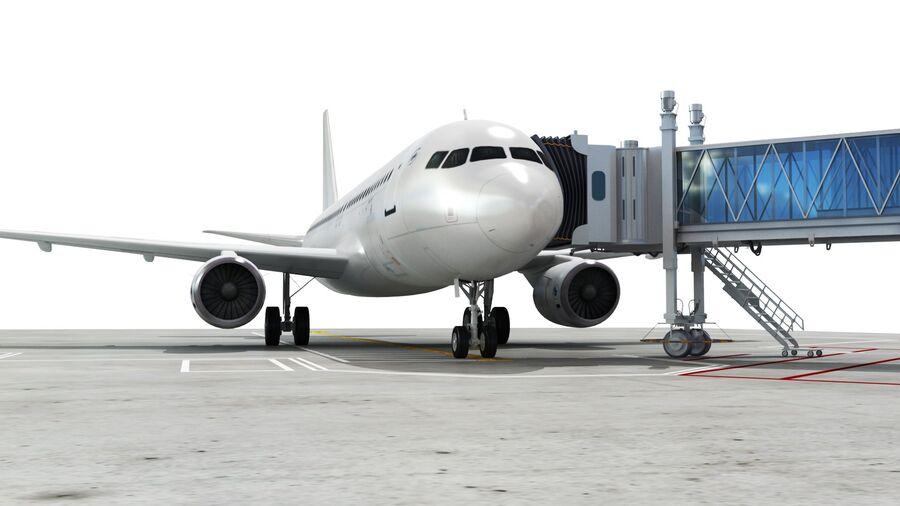 Avión y Jetway del aeropuerto royalty-free modelo 3d - Preview no. 2