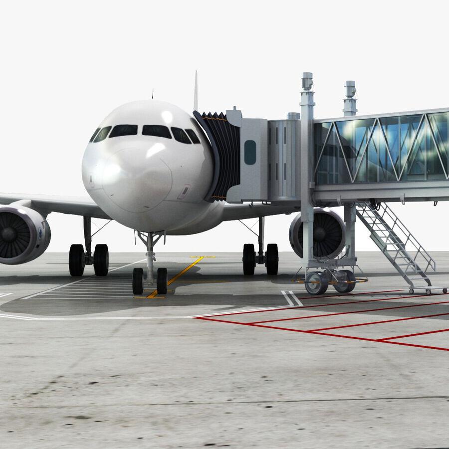 Avión y Jetway del aeropuerto royalty-free modelo 3d - Preview no. 1