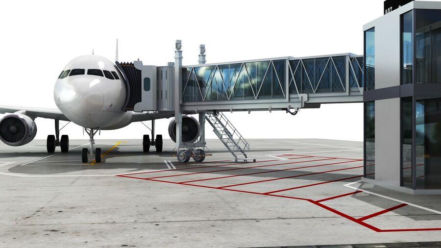 Avión y Jetway del aeropuerto royalty-free modelo 3d - Preview no. 13