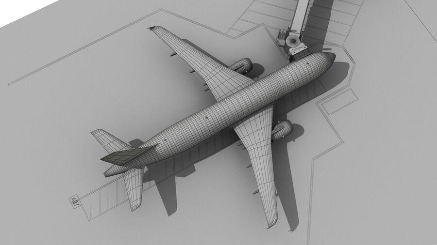 Avión y Jetway del aeropuerto royalty-free modelo 3d - Preview no. 25