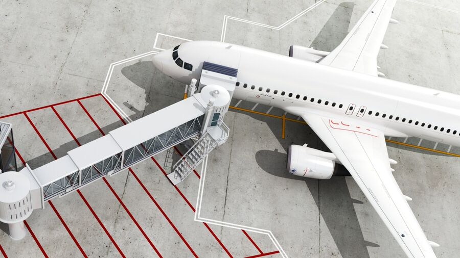 Avión y Jetway del aeropuerto royalty-free modelo 3d - Preview no. 3