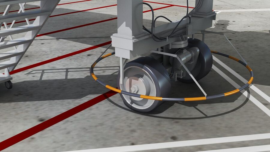 Avión y Jetway del aeropuerto royalty-free modelo 3d - Preview no. 8
