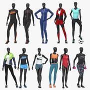 Female sport mannequin collection 3d model