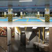 Realistisk offentlig underjordisk parkering och toalett 3d model
