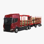 Camion forestier et remorque génériques 3d model