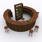 Barra de círculo de madeira 3d model