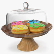 Cake Stand Wooden with Donuts 3d model