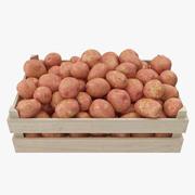 Potatis Röd Trälåda 3d model