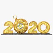 2020 년의 자릿수 3d model