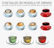 Latte, kaffe och tekoppar 11 i 1 3d model