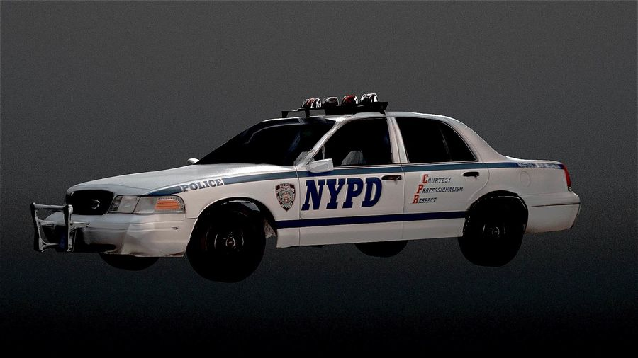 NYPD Police Car royalty-free 3d model - Preview no. 2