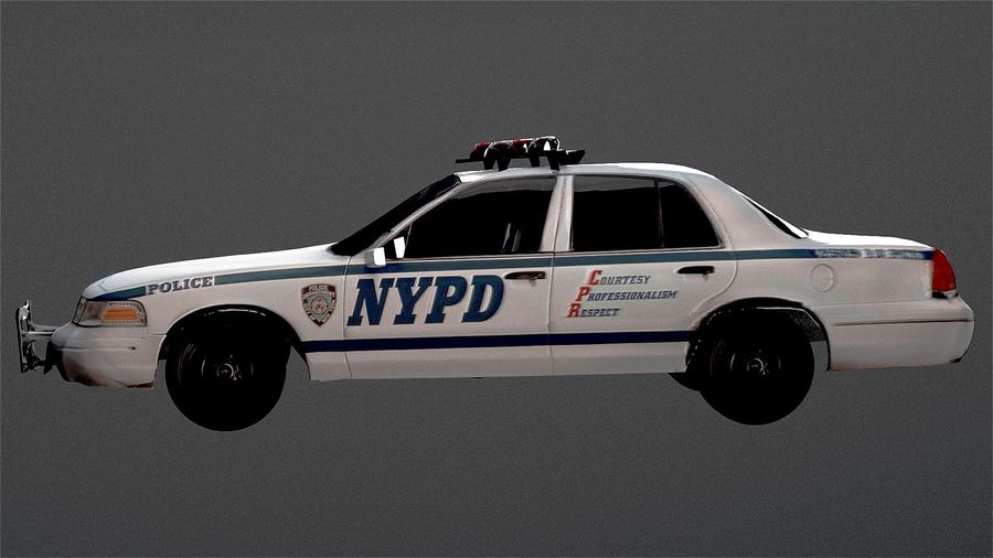 NYPD Police Car royalty-free 3d model - Preview no. 4
