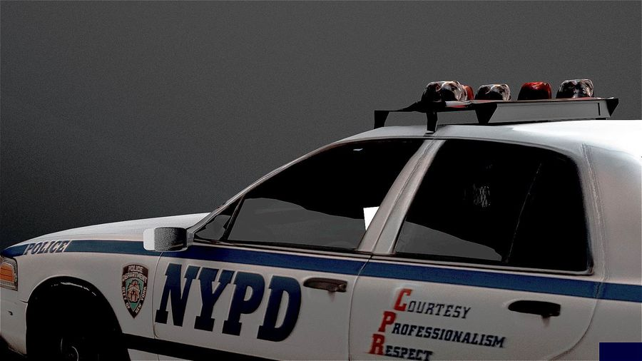 NYPD politieauto royalty-free 3d model - Preview no. 6