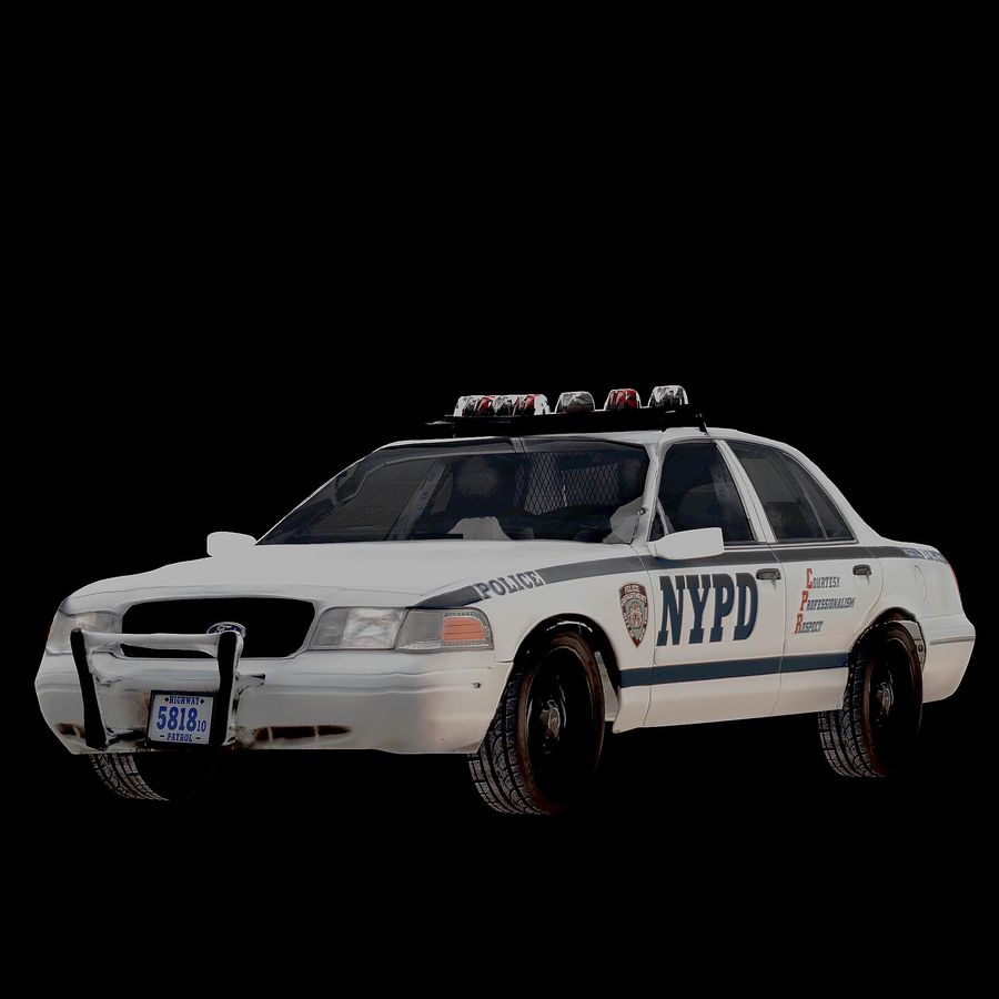 NYPD Police Car royalty-free 3d model - Preview no. 1