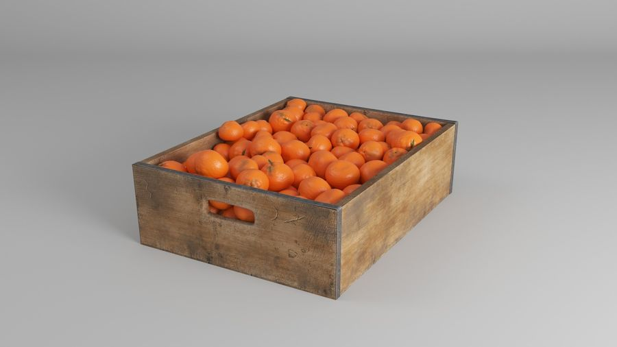 Mandarin Obstkiste royalty-free 3d model - Preview no. 4