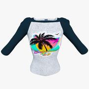 Реглан футболка женская 3d model