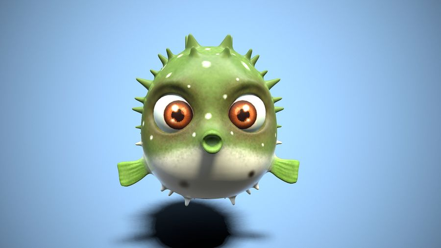 kreskówka ryba fugu royalty-free 3d model - Preview no. 7