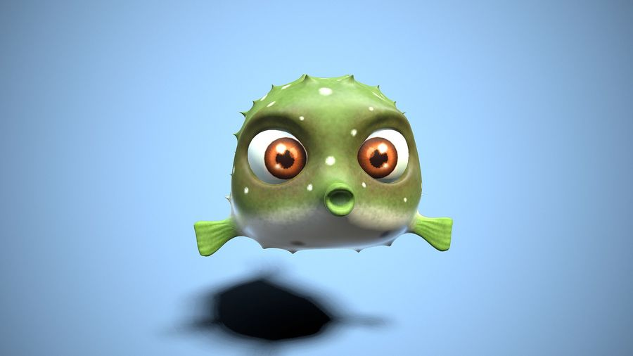 kreskówka ryba fugu royalty-free 3d model - Preview no. 2