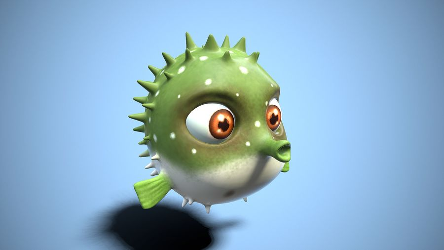 kreskówka ryba fugu royalty-free 3d model - Preview no. 6