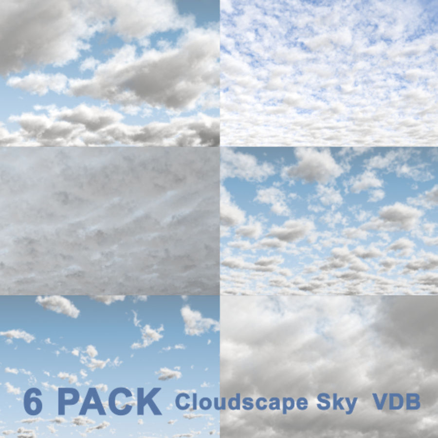 3D Clouds Sky - 6 PACK royalty-free 3d model - Preview no. 1
