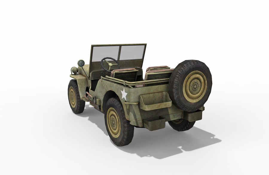Armored Willys Army Jeep royalty-free 3d model - Preview no. 4