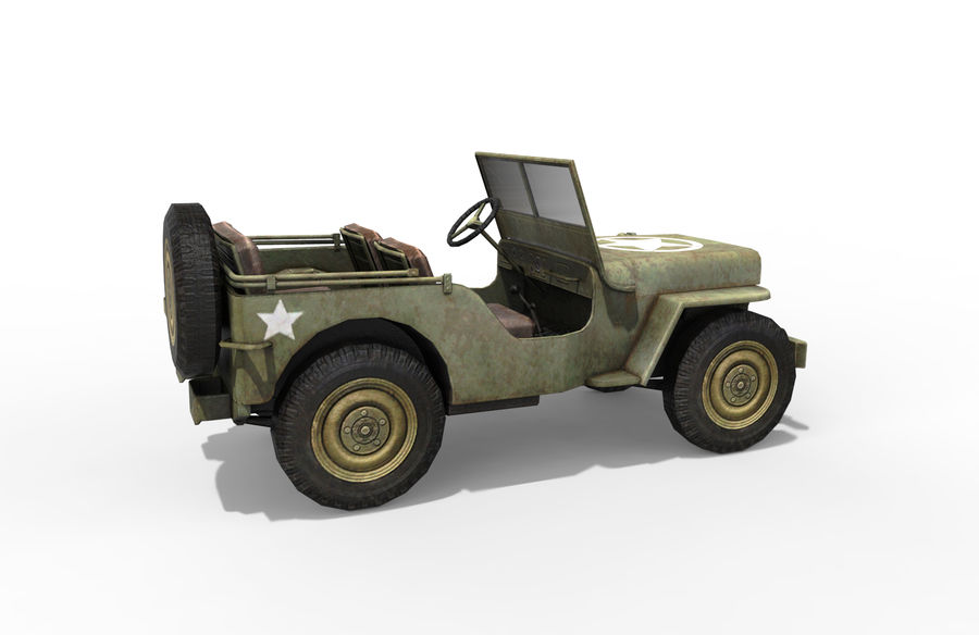 Armored Willys Army Jeep royalty-free 3d model - Preview no. 6