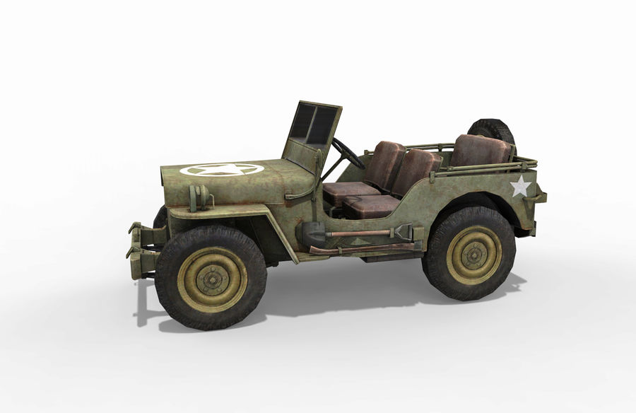 Armored Willys Army Jeep royalty-free 3d model - Preview no. 2