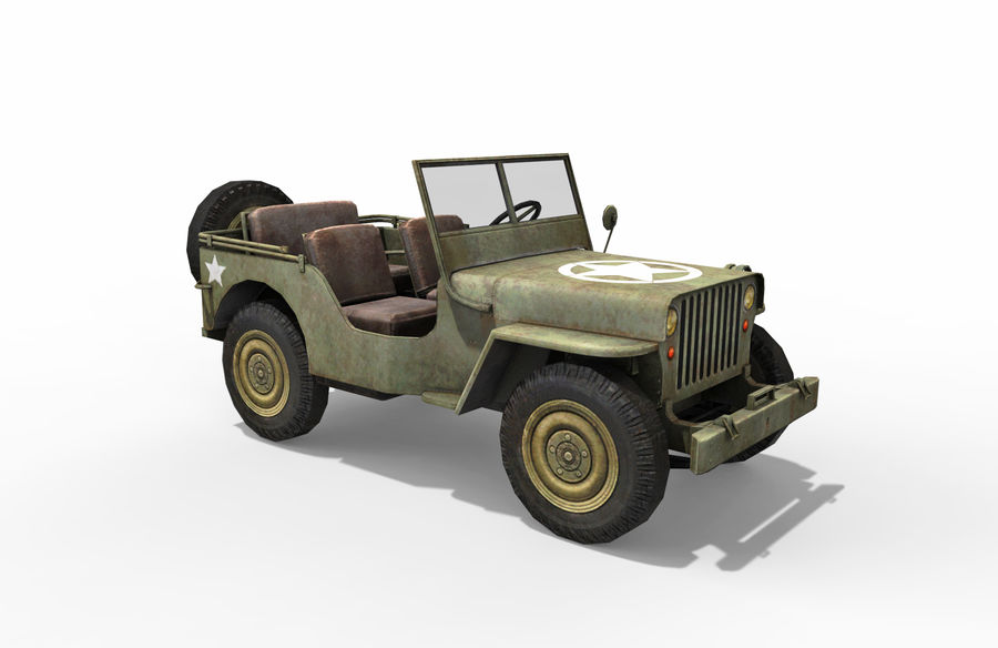 Armored Willys Army Jeep royalty-free 3d model - Preview no. 7