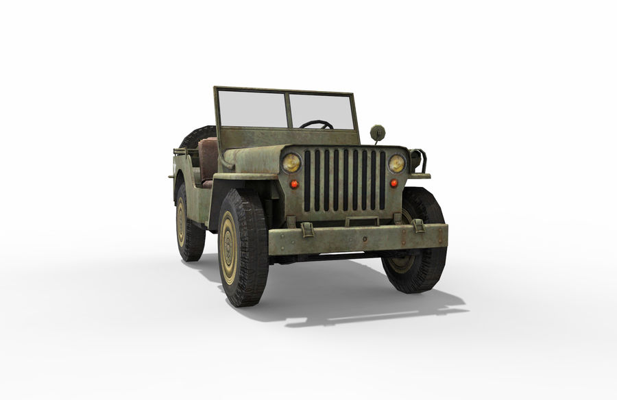 Armored Willys Army Jeep royalty-free 3d model - Preview no. 8