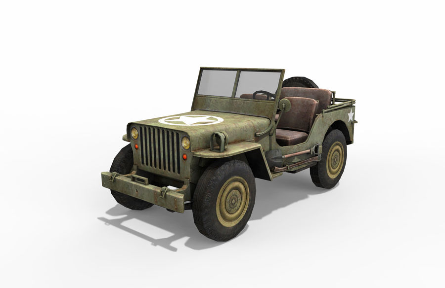 Armored Willys Army Jeep royalty-free 3d model - Preview no. 1