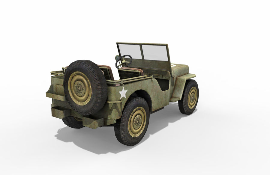 Armored Willys Army Jeep royalty-free 3d model - Preview no. 5