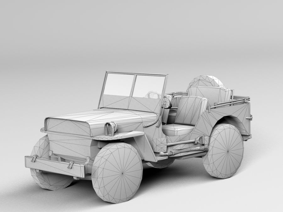 Armored Willys Army Jeep royalty-free 3d model - Preview no. 10