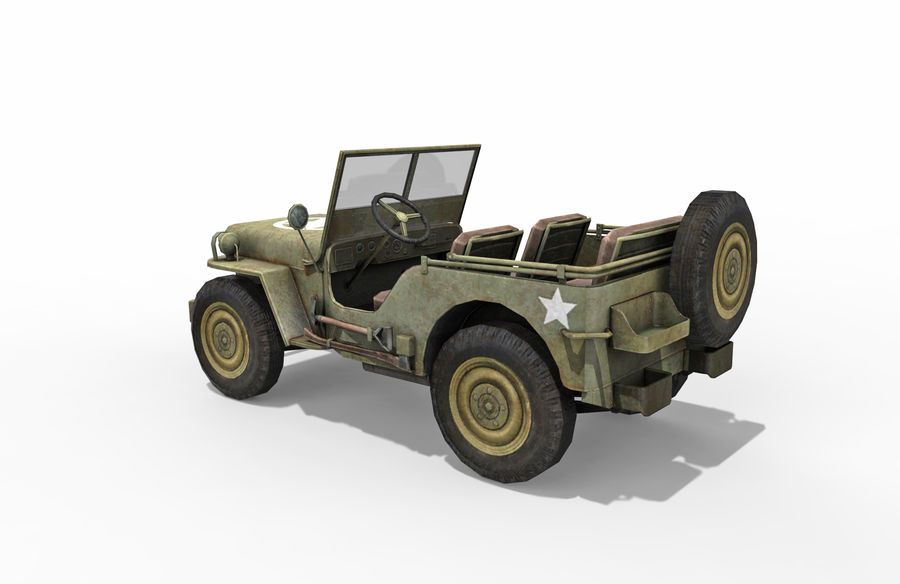 Armored Willys Army Jeep royalty-free 3d model - Preview no. 3