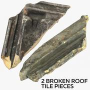 2 Broken Roof Tile Pieces 3d model