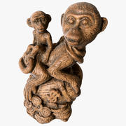 Scanned Statuette Monkeys 01 3d model