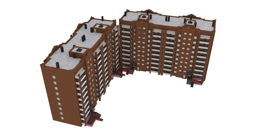 Residential City Apartment Building royalty-free 3d model - Preview no. 9