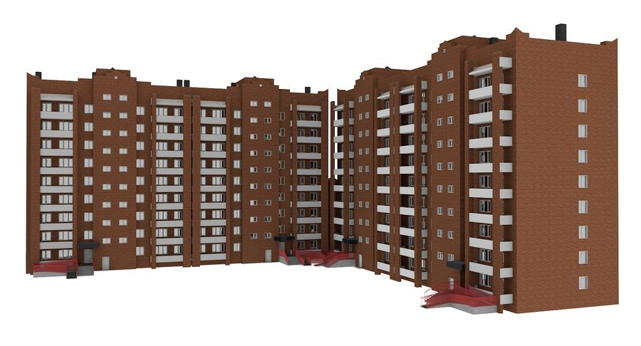 Residential City Apartment Building royalty-free 3d model - Preview no. 7