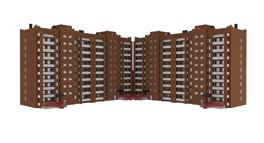 Residential City Apartment Building royalty-free 3d model - Preview no. 10