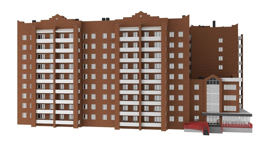 Residential City Apartment Building royalty-free 3d model - Preview no. 6