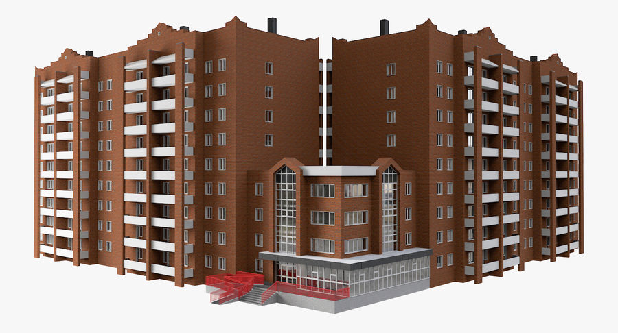 Residential City Apartment Building royalty-free 3d model - Preview no. 2