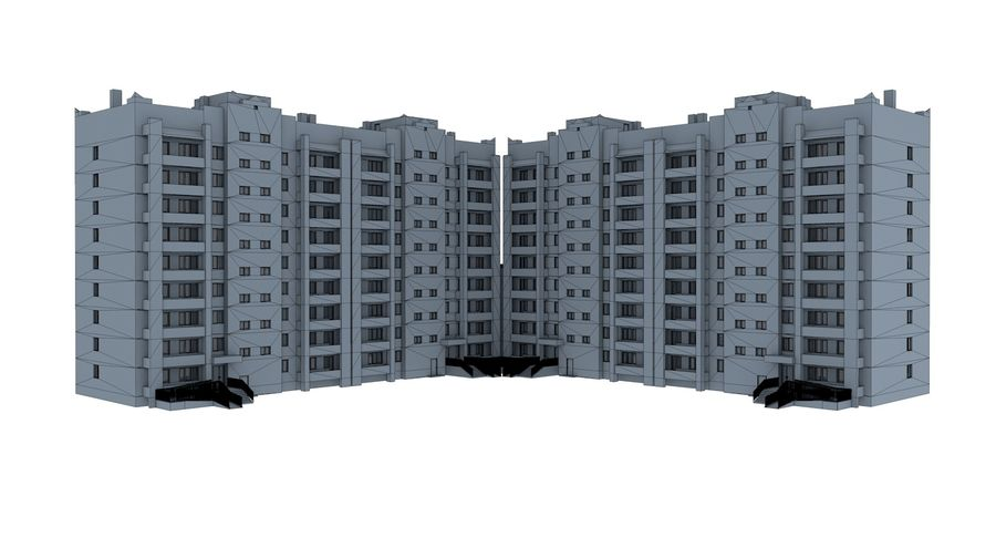 Residential City Apartment Building royalty-free 3d model - Preview no. 11