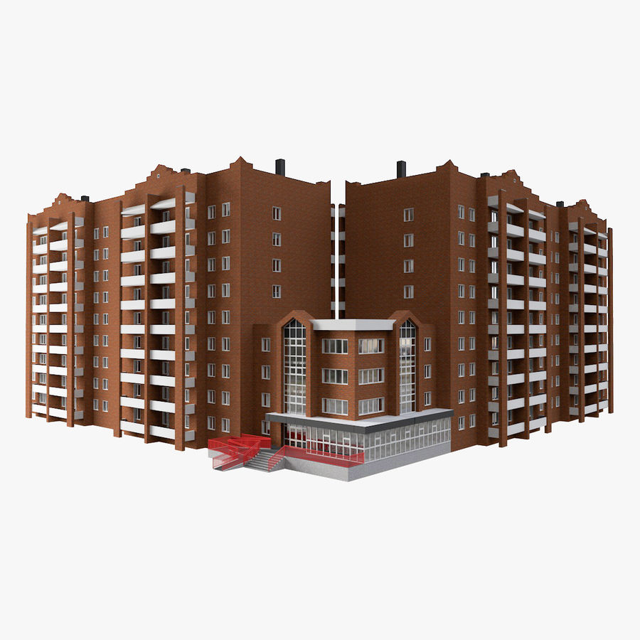 Residential City Apartment Building royalty-free 3d model - Preview no. 1