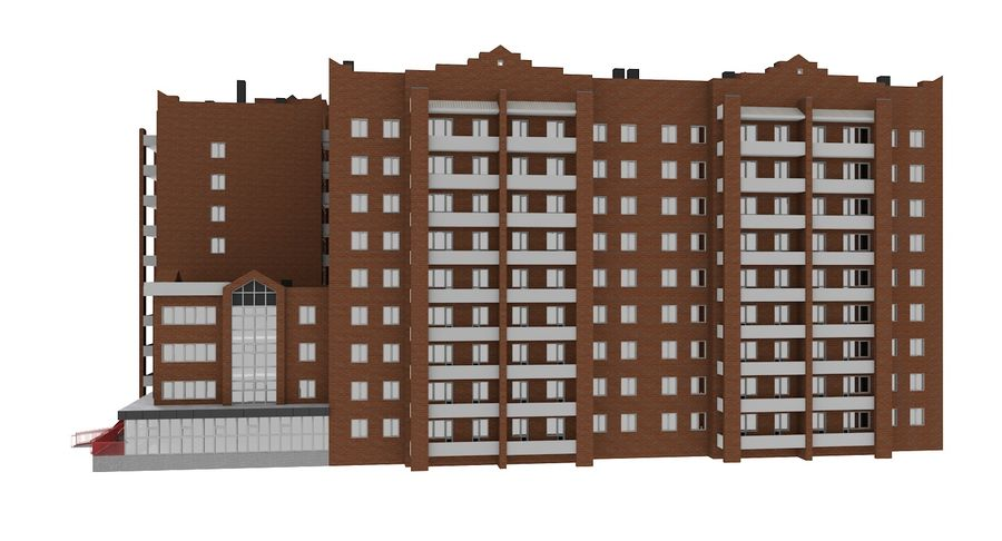 Residential City Apartment Building royalty-free 3d model - Preview no. 5